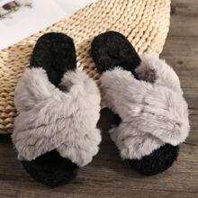 Open Toe Criss Cross Fluffy Slippers