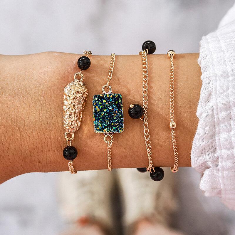 Vintage Metal Irregular Gemstone Pendant Bracelet Black Bead Tassel Multi-layer Bracelet