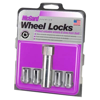 McGard 25257 Wheel Lock Nut Set - 4pk. (Tuner / Cone Seat) M12X1.5 / 13/16 Hex / 1.24in. Length - Chrome