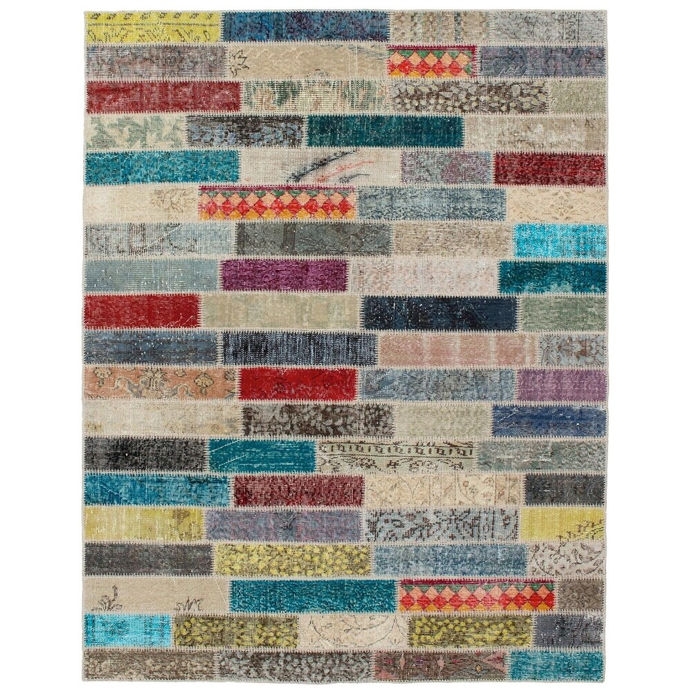 ECARPETGALLERY Hand-knotted Color Transition Patchwork Multi Wool Rug - 5'5 x 7'7 (Multi Color - 5'5 x 7'7)