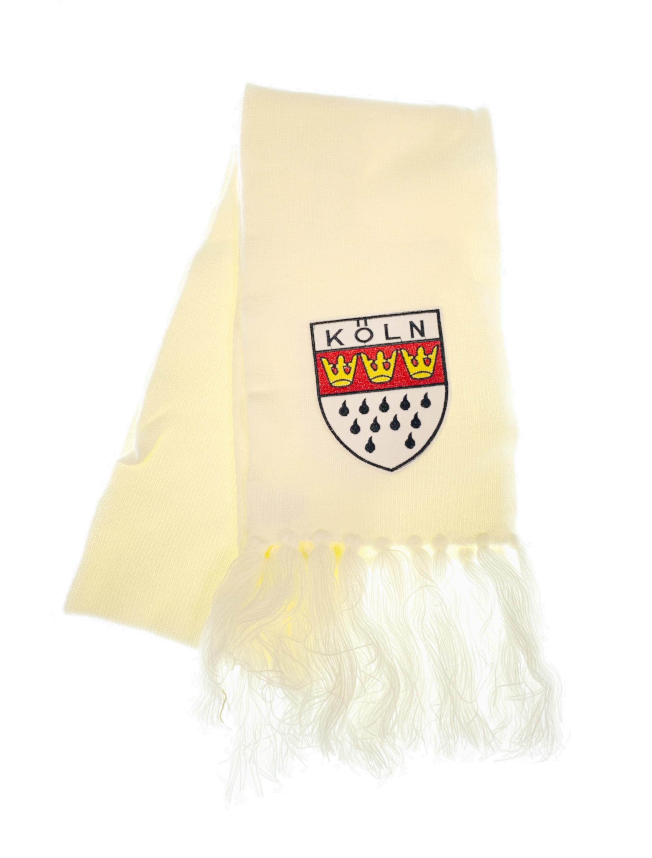 Kostuemzubehor Schal Koln mit Wappen weiss 180cm