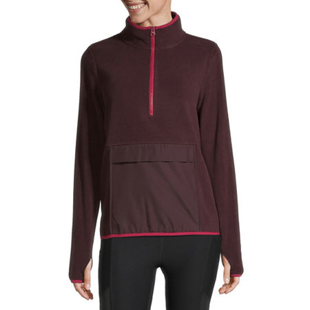 Xersion Womens Mock Neck Long Sleeve Hoodie, X-large , Red