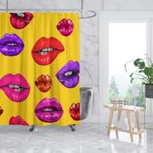 Duschvorhang mit Lippe Muster und 12 Haken