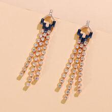 Rhinestone Tassel Design Earrings