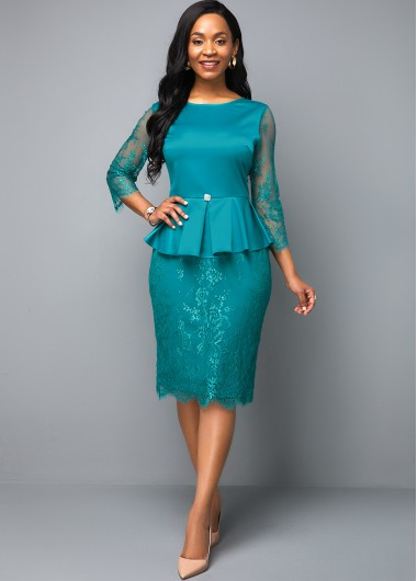 Women'S Peacock Blue Sheath Cocktail Party Dress Solid Color Three Quarter Sleeve Zipper Closure Lace Panel Peplum Waist Elegant Midi Dress - 10