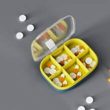 1 Stueck Pillenbox mit 6 Gittern und Farbblock