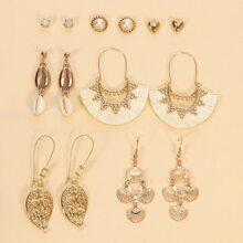 7 Paare Ohrringe mit Muschel & Quasten Dekor