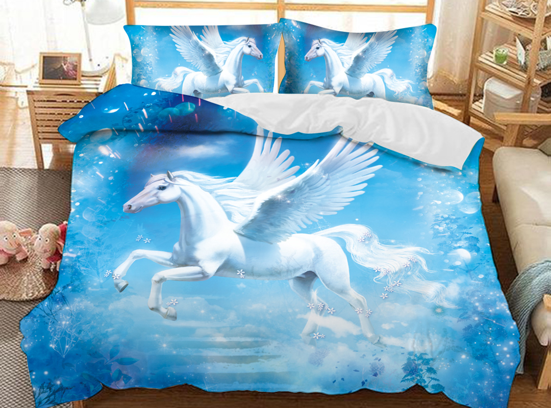 White Unicorn in Blue Sky 3D Animal Duvet Cover Sets Soft 3-Piece Soft Durable Bedding Sets with 2 Pillowcases