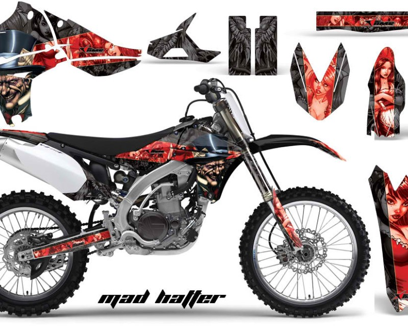 AMR Racing Dirt Bike Graphics Kit Decal Sticker Wrap For Yamaha YZ450F 2010-2013áHATTER RED BLACK