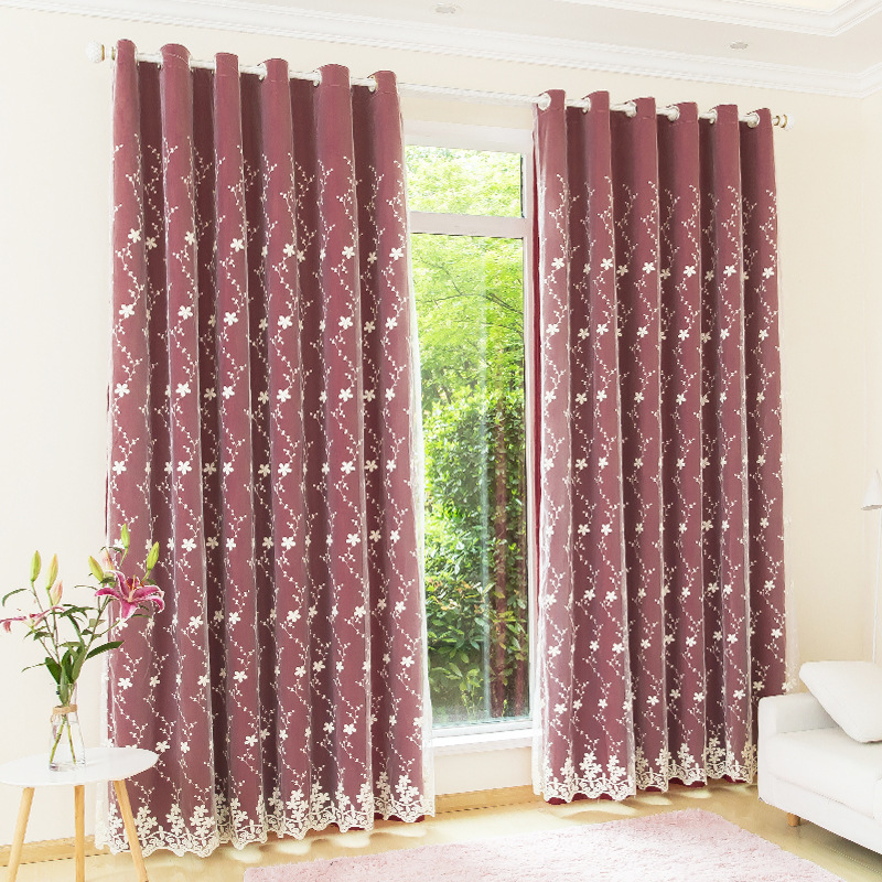 Pastoral Floral Custom Blackout Curtain Sets for Living Room Bedroom 2 Panels Set Physically Blocks Light Nicely Prevents UV Ray Excellent Performance