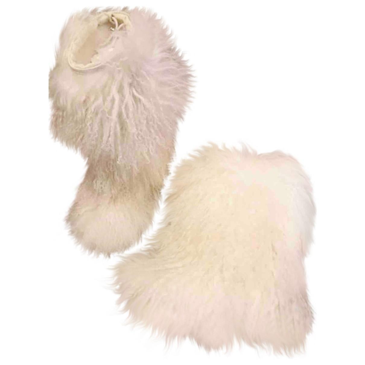Prada \N White Mongolian Lamb Boots for Women 37 EU