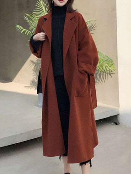 Milanoo Abrigo de mujer Cuello vuelto con cordones Cordon clasico Abrigo de invierno negro Prendas de abrigo