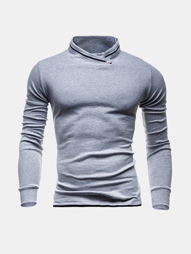 Mens Solid Stand Collar Long Sleeve Slim Fit Casual T-Shirts