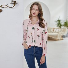 Floral And Letter Graphic Blouse