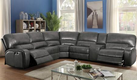 Saul Collection Power 53750 Motion Sectional Sofa with Left Facing Recliner + Corner Wedge + 2x Armless Recliners + Storage Console + Right Facing