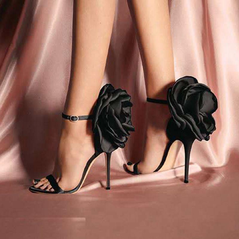 Ericdress Floral Silk Fabric Stiletto Heel Women's Sandals