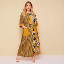 Maxi Kleid mit Streifen, Blumen Muster und Tasche Flicken