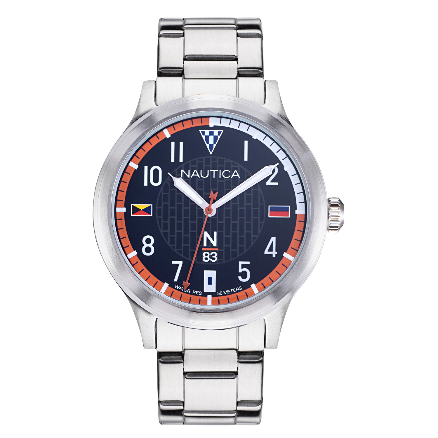 Nautica Watch NAPCFS908 Crissy Field, Analog, Water Resistant, Stainless Steel Strap, Deployment Buckle, Snap Down Crown, Silver