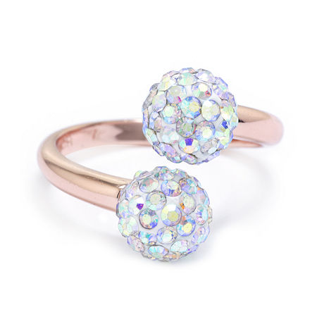 Sparkle Allure Crystal 14k Rose Gold Over Brass Bypass Cocktail Ring, 7 , No Color Family