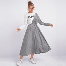 2 In 1 Kleid mit Buchstaben & Karo Muster und ausgestelltem Saum