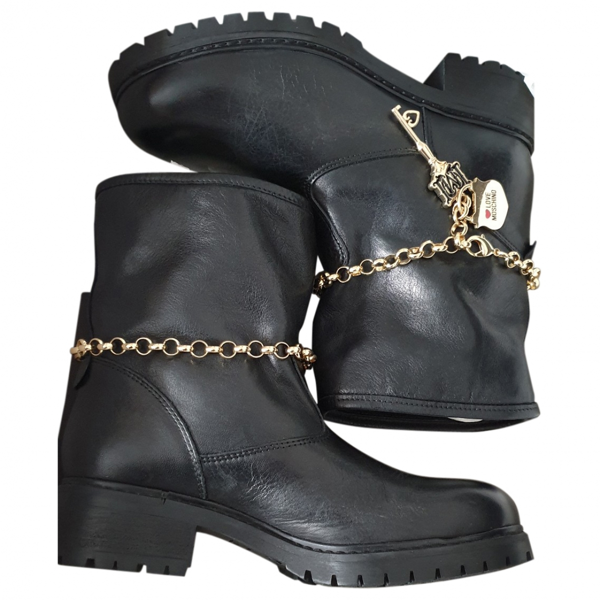 Moschino Love \N Black Leather Boots for Women 38 EU