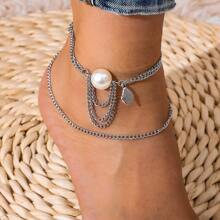 1pc Faux Pearl Chain Anklet