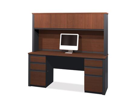 99851-39 Prestige + Credenza and Hutch  Kit with Scratch and Stain Resistant Surface in Bordeaux and