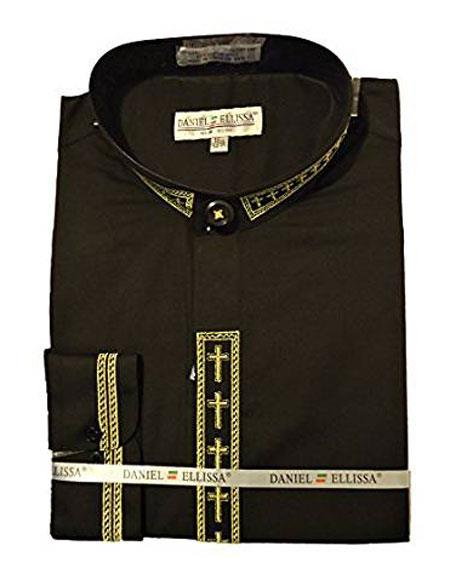 Daniel Ellissa Mens Collarless Black ~ Gold Embroide Shirt