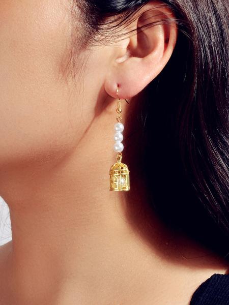 Milanoo Dangle Earrings Gold Pearl Birdcage Cut Out Women Jewelry