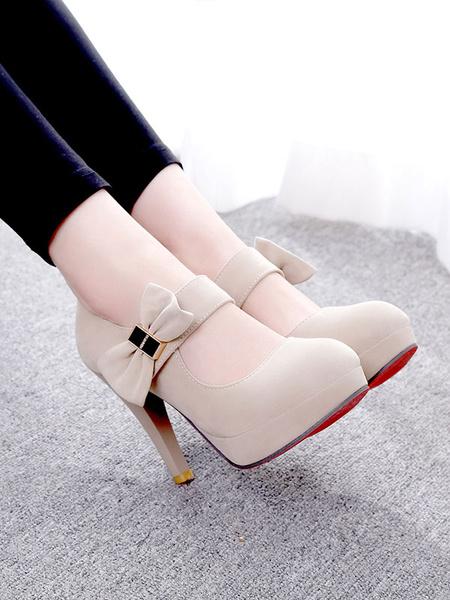 Milanoo Women\'s Platform Pumps Round Toe Bows Stiletto Heel Dark Red Marry Jane High Heel Shoes