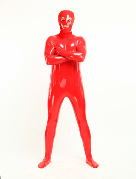 Milanoo Morph Suit Red Unisex Open Mouth And Eyes Designed PVC BodySuit Clothes Costumes