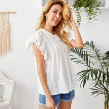 Button Front Lace Trim Butterfly Sleeve Top