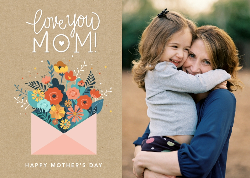 Mother's Day Cards 5x7 Folded Cards, Standard Cardstock 85lb, Card & Stationery -Mom Floral Envelope by Tumbalina
