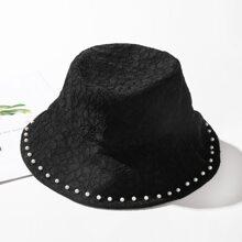 Sombrero cubo con encaje con perla artificial