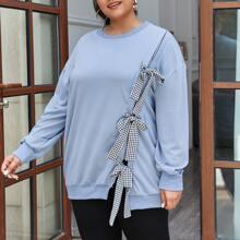 Sweatshirt mit Karo Muster, Knoten vorn und sehr tief angesetzter Schulterpartie