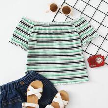 Girls Off Shoulder Rib-knit Striped Tee