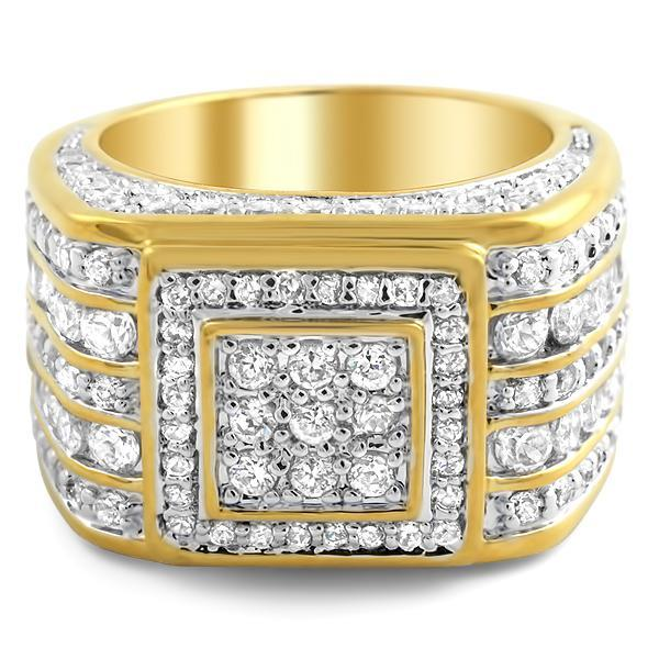 Gold .925 Silver Godfather CZ Bling Bling Ring