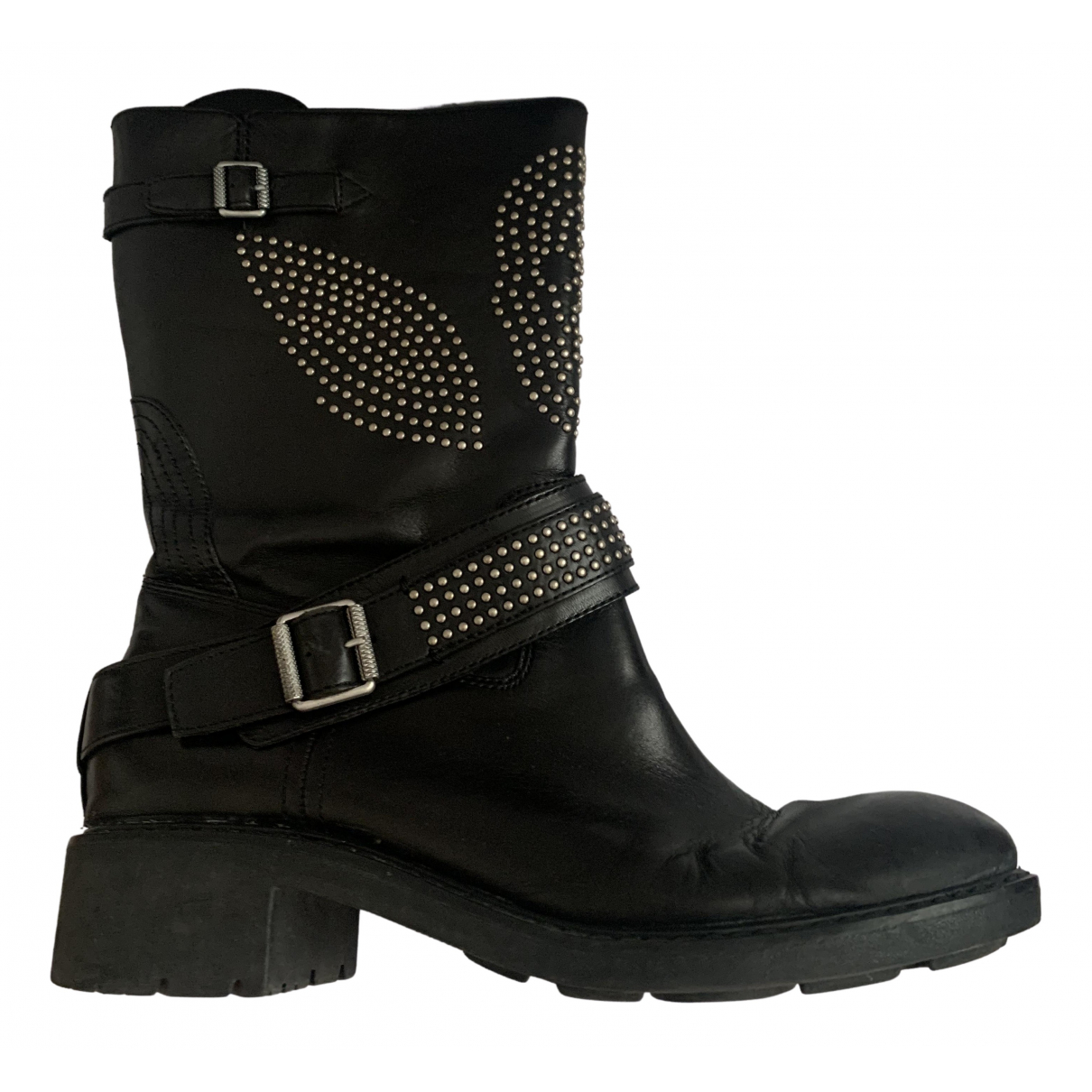Ash \N Black Leather Boots for Women 40 EU