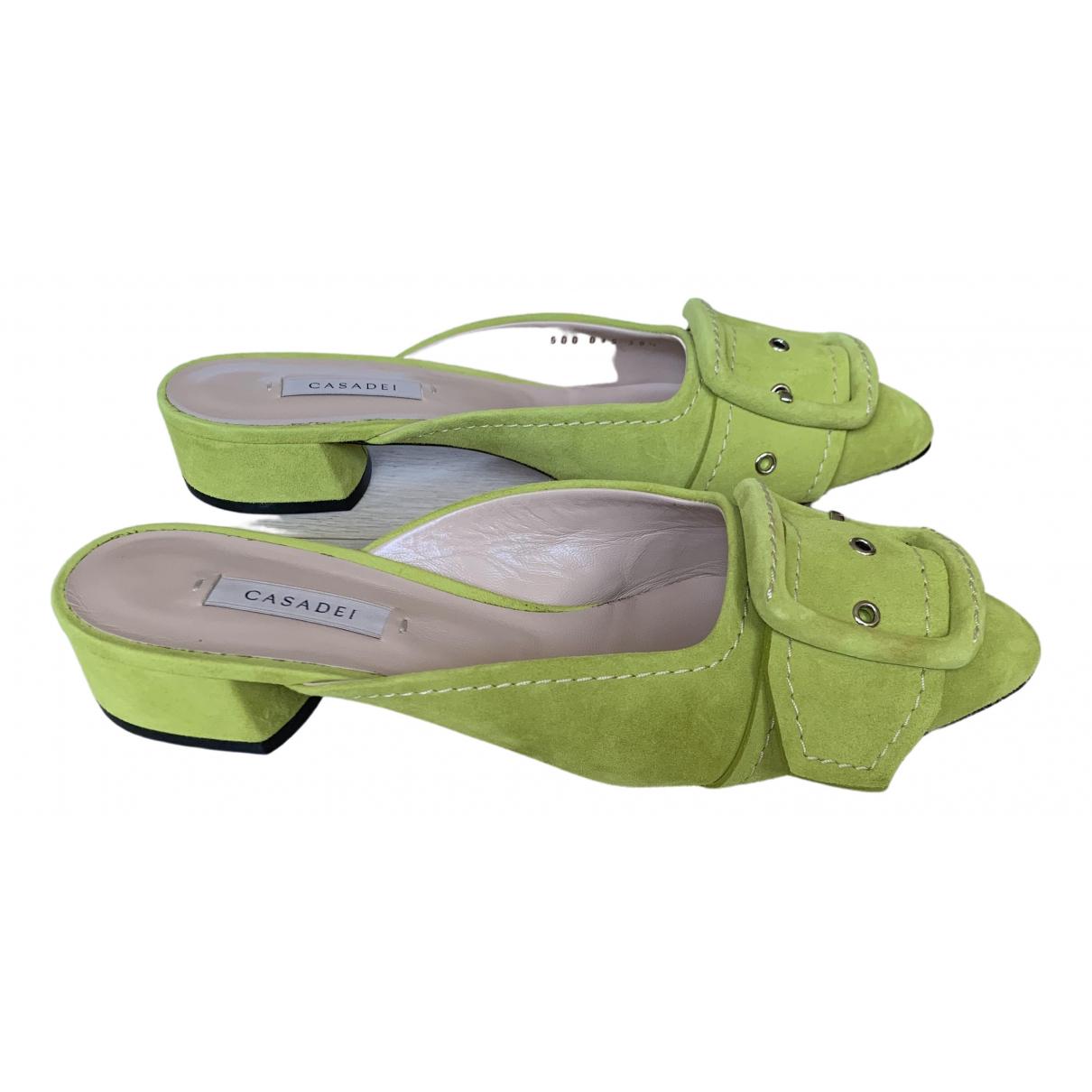 Casadei \N Green Suede Sandals for Women 38.5 EU
