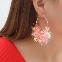 Christmas Colorful Ribbon Decor Hoop Earrings