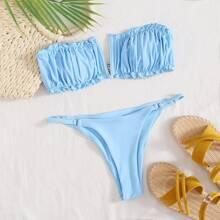 Sets de bikini Acaracolado Liso Azul Sexy