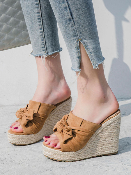 Milanoo Black Wedge Sandals Open Toe Bow Backless platform heels Slippers