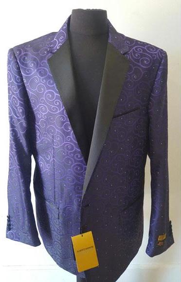 Floral Sportcoat Shiny Fashion Purple Blazer Dinner Jacket Tuxedo