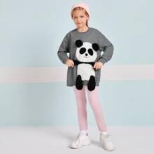 Girls Panda Patched Sweatshirt