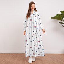 Kleid mit eingekerbtem Kragen, Schmetterling & Streifen Muster