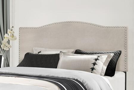 Kiley Collection 2011HFQRF Full/Queen Size Headboard with Rails  Fabric Upholstery and Decorative Nail Head Trim in