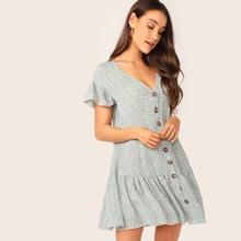 Kleid mit Knopfen vorn, V Kragen und Leopard Muster