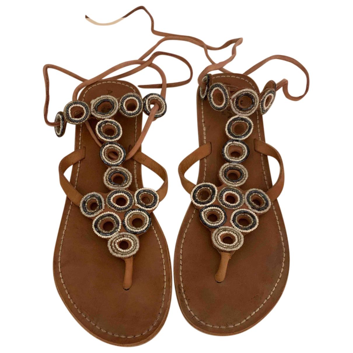 Unknown - Sandales   pour femme en cuir - marron