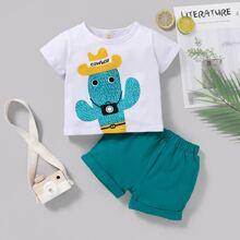 T-Shirt mit Karikatur Grafik & Shorts