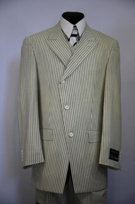 Mens Victorian Stripes Side Button Single Breasted Sage Zoot Suit